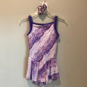 Figure Skating purple floral practice dress